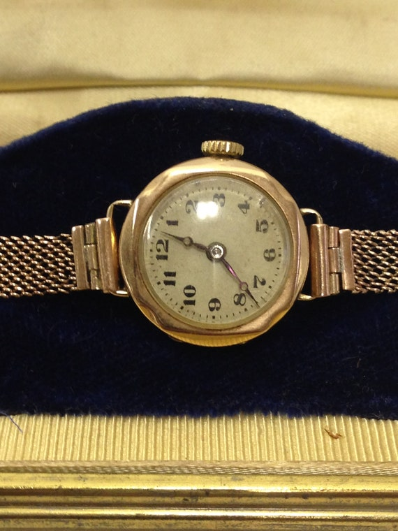 Antique 9ct Gold Working Ladies Watch And Strap