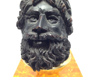 Antique 1868 Hand carved Wood Figurehead of Neptune Tobacco Pipe.