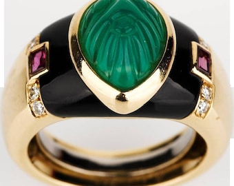 Cartier Carved Columbian Emerald Ring