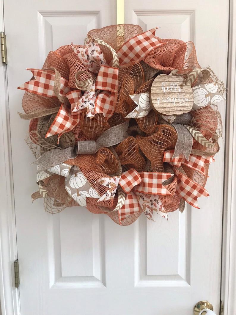 Fall Burlap Wreath Pumpkin Wreath Fall Deco Mesh Wreath Orange Fall Wreath Fall Door Decor