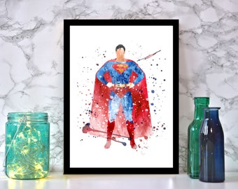 Framed Watercolour Superman Print With Black Frame