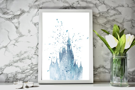 Framed Watercolour Cinderella Castle Print With White Frame   Etsy