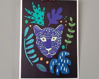 A5 Illustration Print   Blue Cat