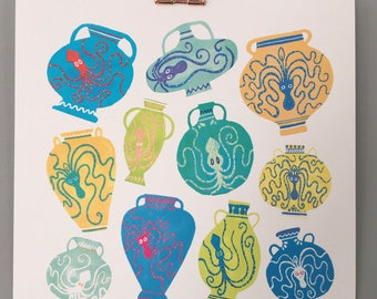 Greek Octopi   Illustration Print