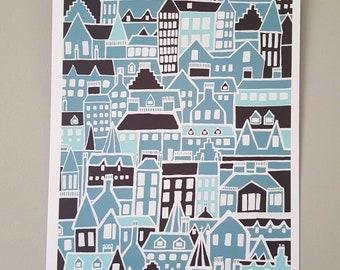 A4 Illustration Print   Edinburgh in October