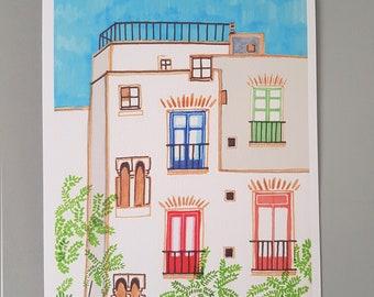 A4 Illustration Print   Barcelona Apartment