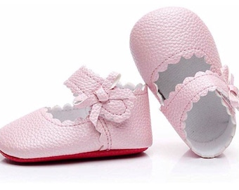 cc681a825784 Baby Girls Ballet Dress Shoes - Red bottom Mary Jane Soft Sole Sidebow  Toddler Moccasins -Pink