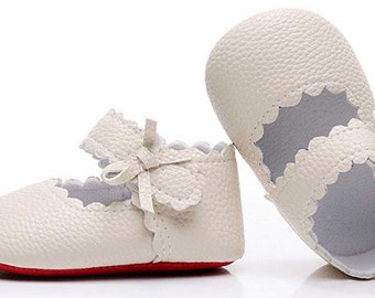 d1dbbbf89ef Baby Girls Ballet Dress Shoes - Red bottom Mary Jane Soft Sole Sidebow  Toddler Moccasins -Beige