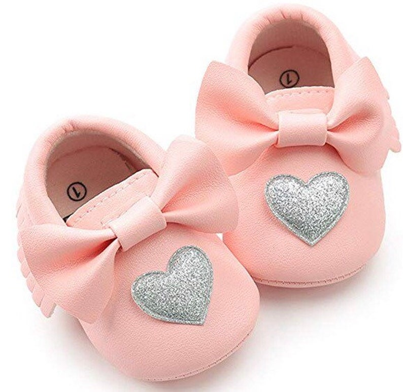 c2a879c997c1b Soft Sole Baby Moccasins - Fringe Premium Fringe Bow Leather Girl Shoes for  Infant Toddlers-Pink with silver heart-Valentines Heart
