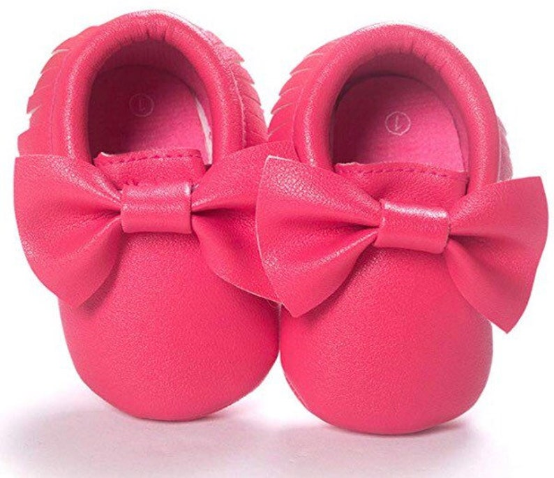 2145e8c828526 Soft Sole Baby Moccasins - Fringe Premium Fringe Bow Leather Girl Shoes for  Infant Toddlers- Watermelon Red