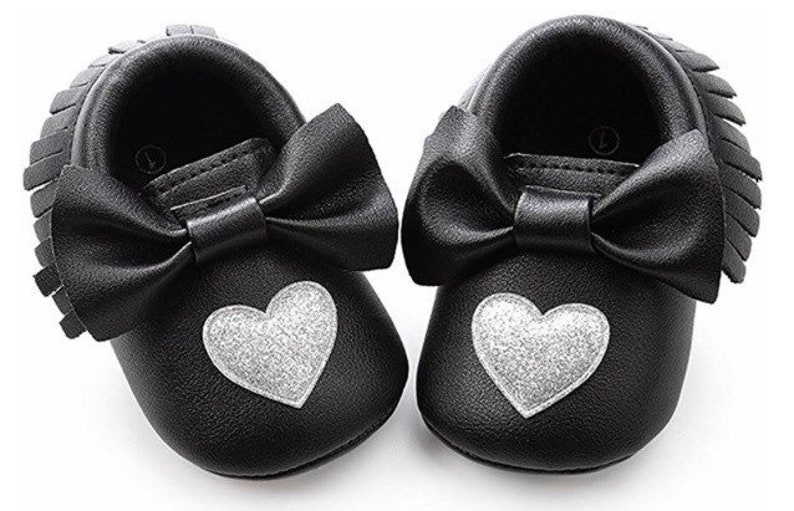 ec9f0d3dc3587 Soft Sole Baby Moccasins - Fringe Premium Fringe Bow Leather Girl Shoes for  Infant Toddlers-Black with Silver heart-Valentines Heart