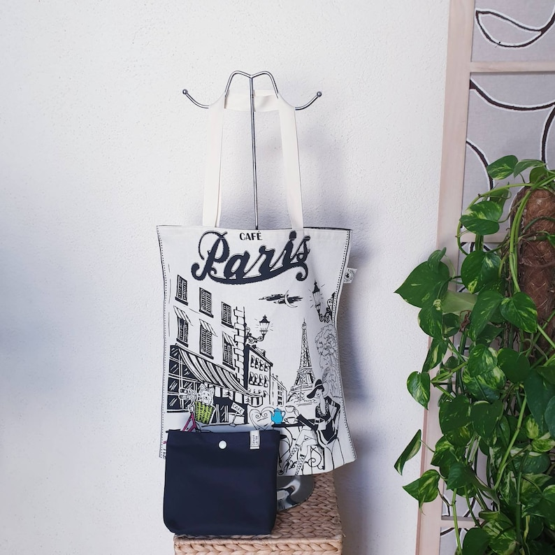 eco-friendly and reusable mixed gift idea zero waste grocery bag shopping bag in cotton canvas with storage pouch Tote bag