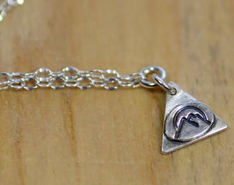 Sterling Silver Mountain Necklace Choker Handmade 925