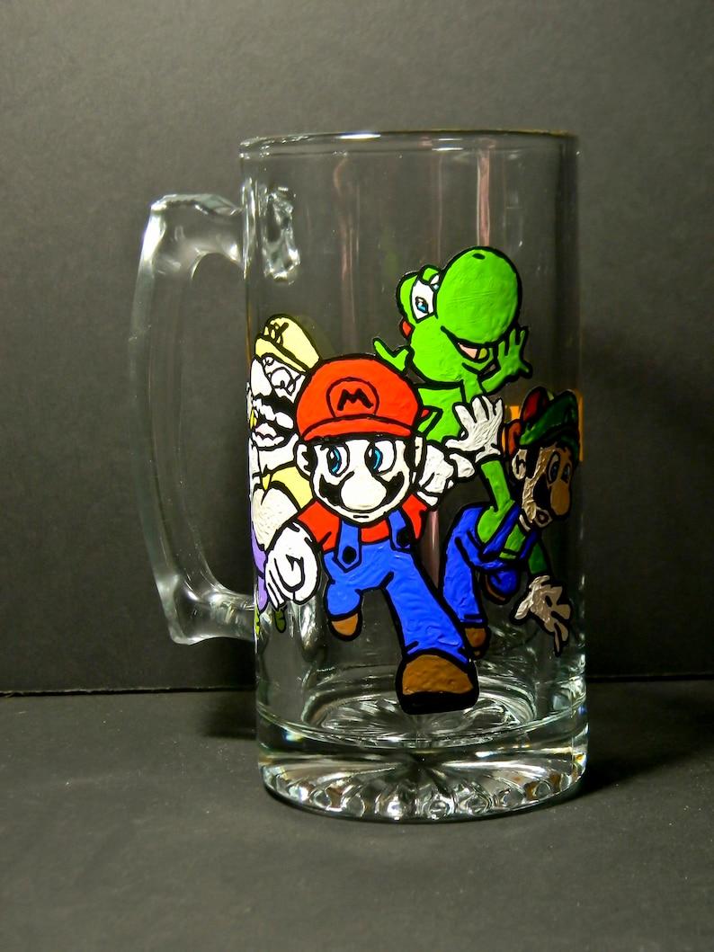 Super Mario Beer Mug Beer Glass Beer Stein Luigi Princess Toadstool Yoshi  Koopa Troopa Goomba Boo Bloober Coin Block Mushroom Nintendo