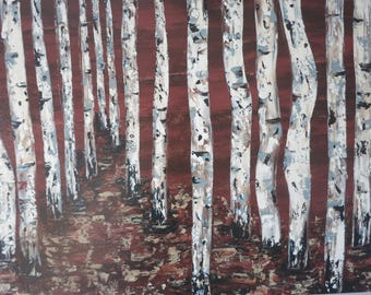 Birch Bark - Print on Canvas of an Original Acrylic Painting by Hilary Thursfield