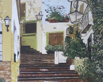 Marbella Street - Print on Canvas of an Original Acrylic Painting by Hilary Thursfield