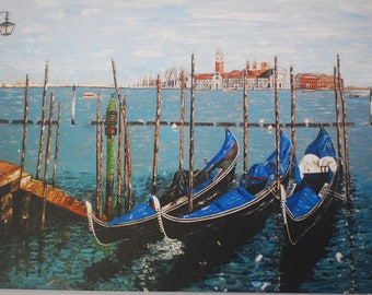 Venice - Print on Canvas of an Original Acrylic Painting by Hilary Thursfield. 1 Copy Only.