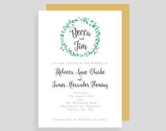 Foliage Wreath Customised Wedding Invitaion