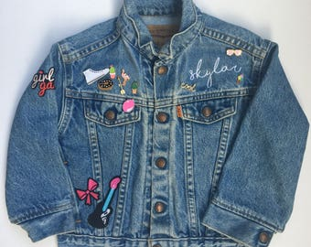 KIDS CUSTOM PERSONALIZED Vintage Leviu0027s Jean Jacket, Personalized Kids  Girls Boys Toddler Baby Clothing, Iron On Patches, Enamel Pins