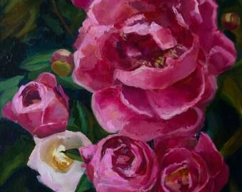Pink peonies, original oil painting