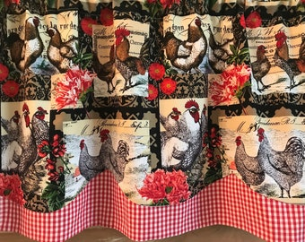 Rooster Curtains Etsy