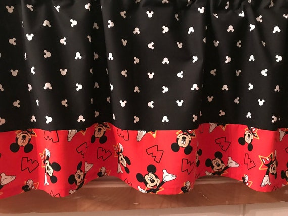 Mickey Mouse Valance Kids Room Decor Black Red Etsy