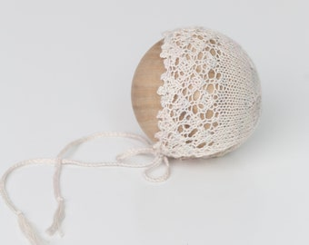 Knit baby bonnet, newborn photography prop, baby girl bonnet, knit photo prop