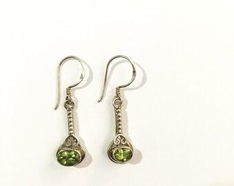 Peridot 925 Silver Earrings Handmade