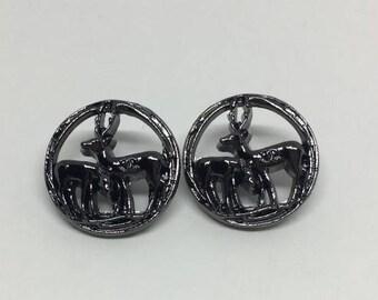Designer 2 Deer Buttons, Necklace, Braselet, Charm