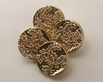 CC Designer Buttons Set of 4 Gold Color