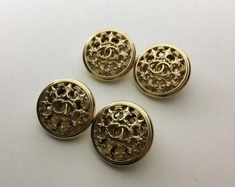 designer buttons Set of 4 Gold Color 2.0cm (20mm)