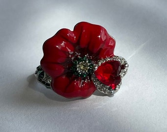 Felt red poppy ring Felted jewellery Woolen poppy Hippie gipsy flower accessory Boho style Felting jewelry Handmade designer ring