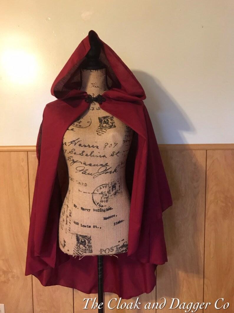 hooded cape red cloak Short Hooded cloak short Cloak witch cloak