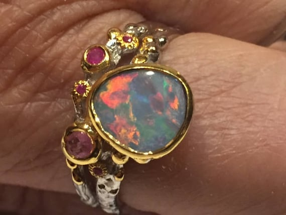flashy opal ring | ruby and opal ring | sterling o