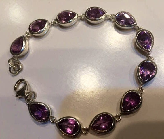Sterling Amethyst Bracelet Articulated Leaf And Berry Old Mexico