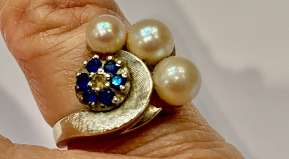 Pearl and Sapphire Ring| Pearl Ring|Sapphire Ring|