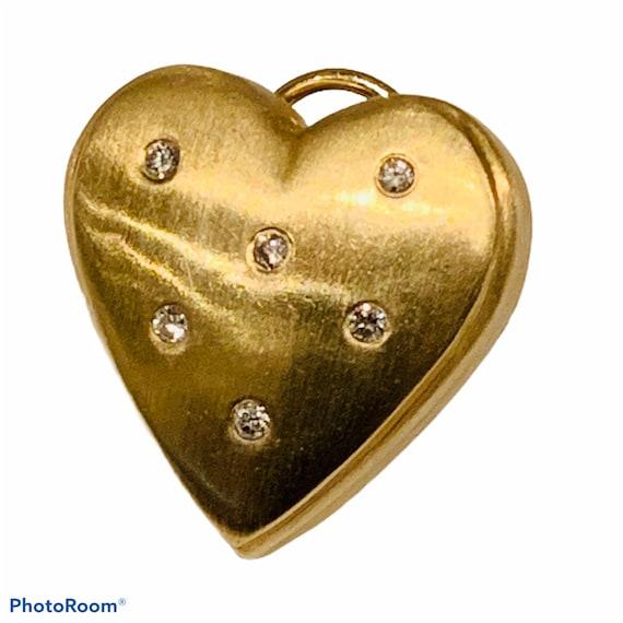 Gold Heart Earrings | Diamond Heart Earrings|  Gol