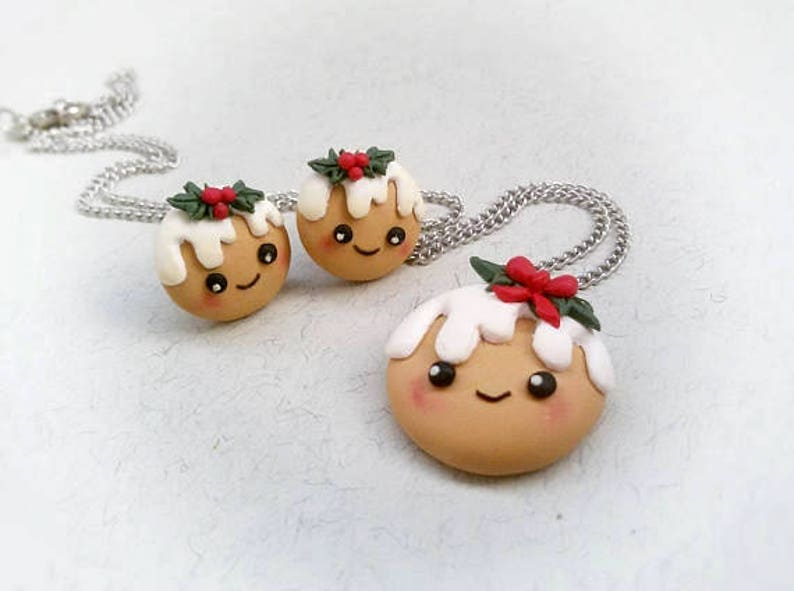 Kawaii Christmas Cookie Cute Xmas Jewelry Gift Holiday Kids Necklace Holly Berry Jewelry Stocking Filler Children Jewelry Gift