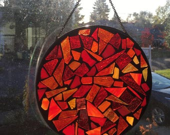 10 inch Red & Yellow Mosaic Stained Glass  Suncatcher
