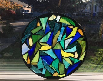 9 1/2 inch Blue Green & Yellow Mosaic stained glass suncatcher