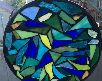7 inch Blue Green &Yellow mosaic Stained Glass