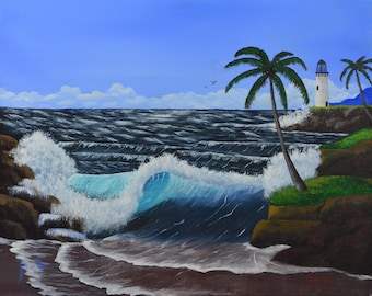 Ocean Waves by the Lighthouse - original painting