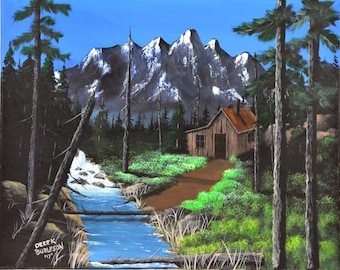 Cabin by the Stream - an original painting