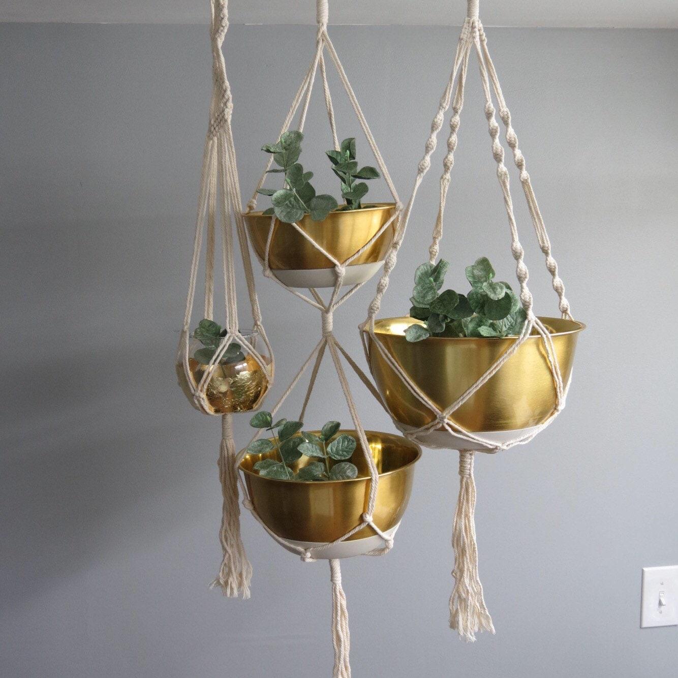 boho suspendre jardini res macram corde suspension etsy. Black Bedroom Furniture Sets. Home Design Ideas