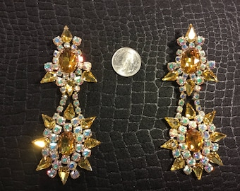 A.B. and Amber Rhinestone clip on earrings