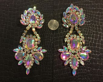 A.B. Rhinestone clip on earrings