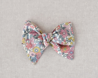 Light Pink Floral Liberty of London Fabric Bow Ruby Bow Headband