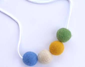Felt Ball Necklace, Woolie Ball Necklace, Necklace, Kids Jewelry, Kids Necklace