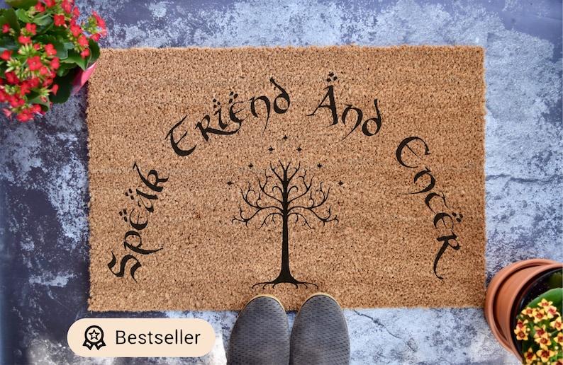 Speak Friend And Enter Door Mat  Custom Doormat  Wedding image 0