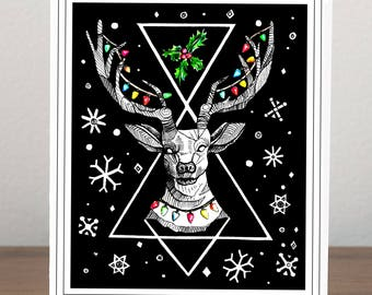 Reindeer Christmas Cards,Handmade Holiday Card,Greeting Card,Unique Christmas Cards,Graphic Design,Handmade Card,Personalised Christmas Card